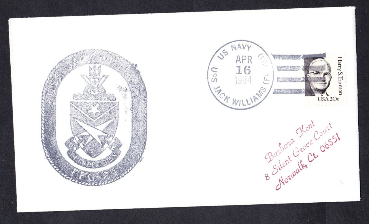 USS JACK WILLIAMS FFG-24 Ship's Cachet Naval Cover