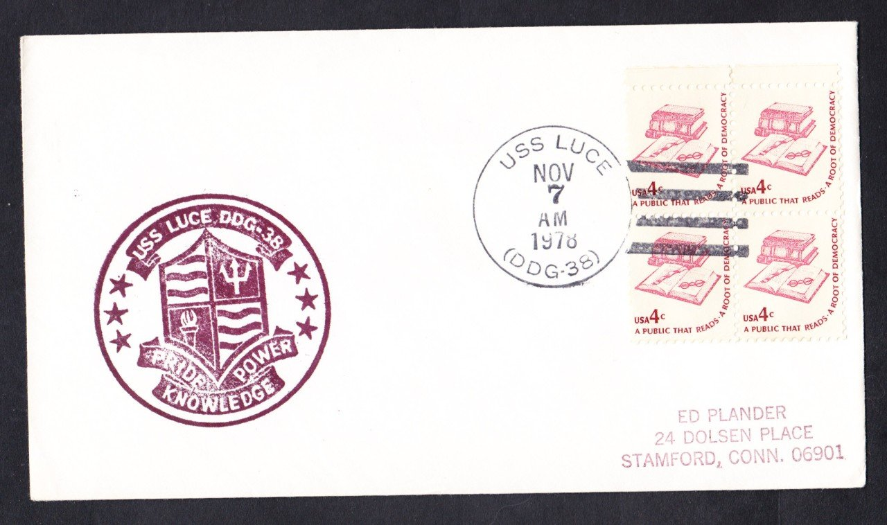 USS LUCE DDG-38 Ship's Cachet Naval Cover