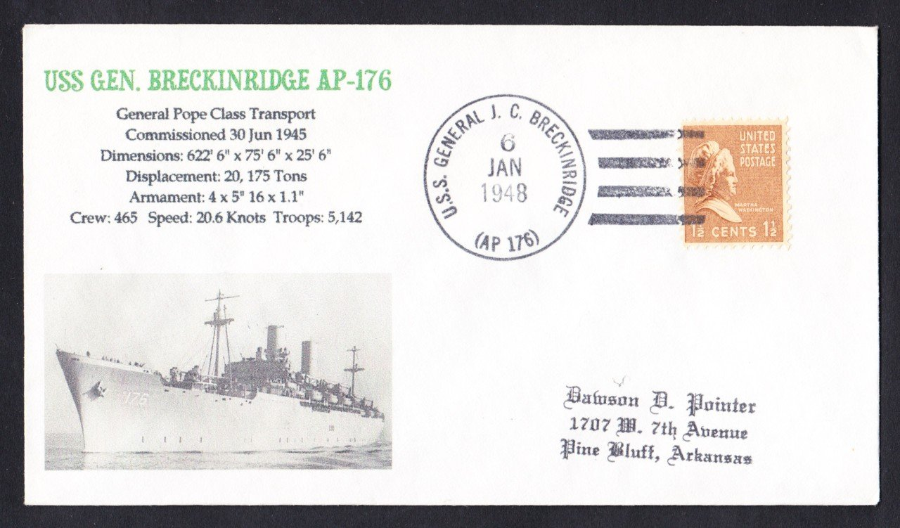 USS GENERAL BRECKINRIDGE AP-176 1948 Naval Cover MhCachets Only 1 Made