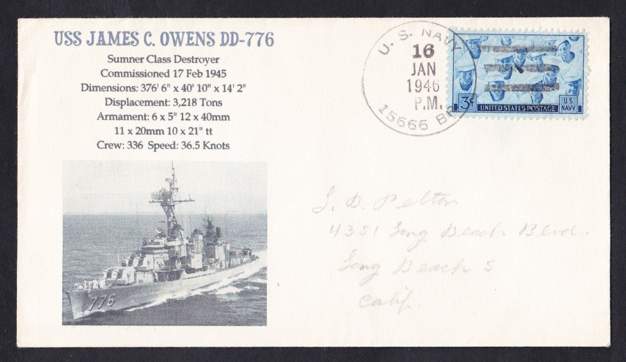 USS JAMES C. OWENS DD-776 BR# Cancel 1946 Naval Cover MhCachets Only 1 Made