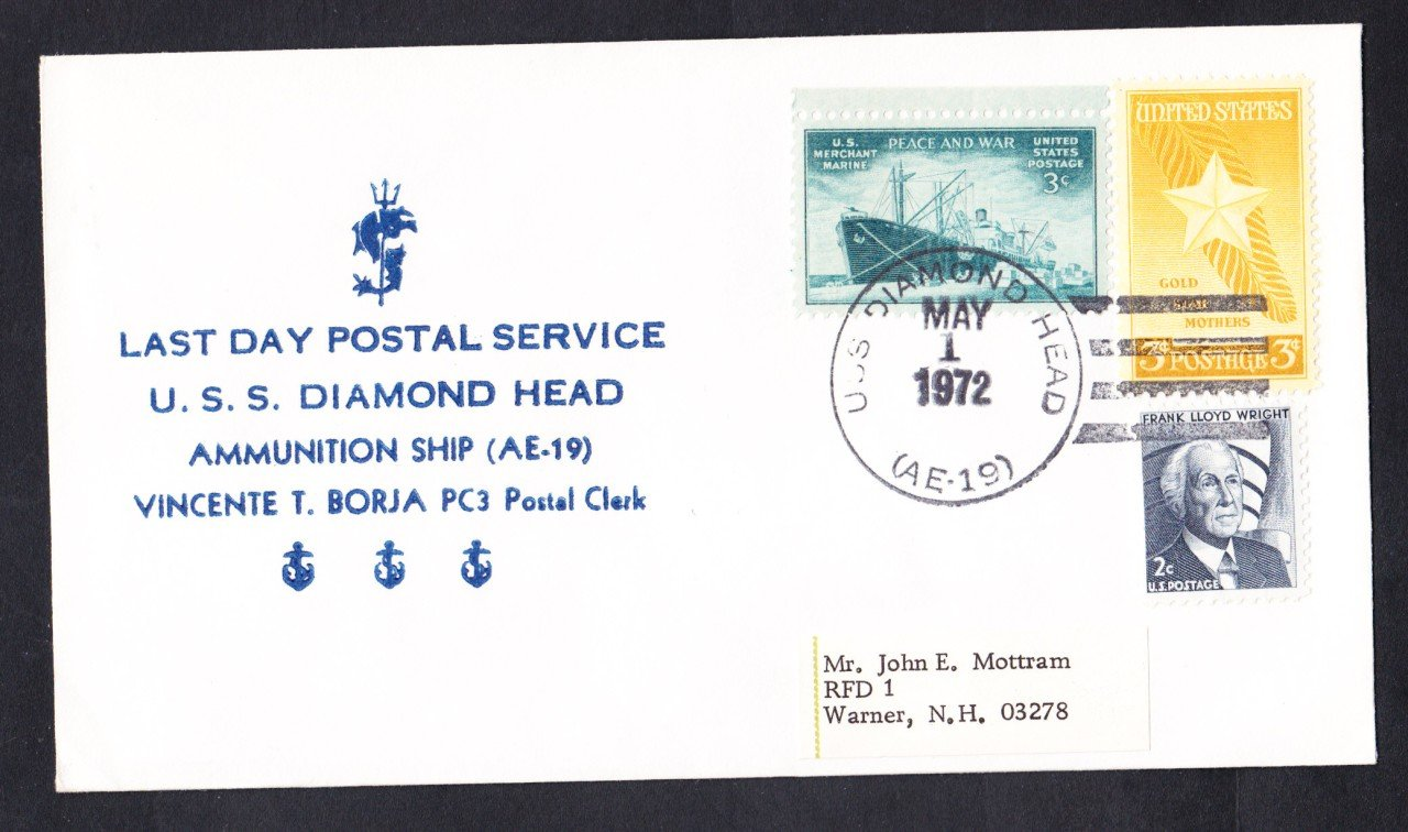 USS DIAMOND HEAD AE-19 LDPS Nicholson Naval Cover