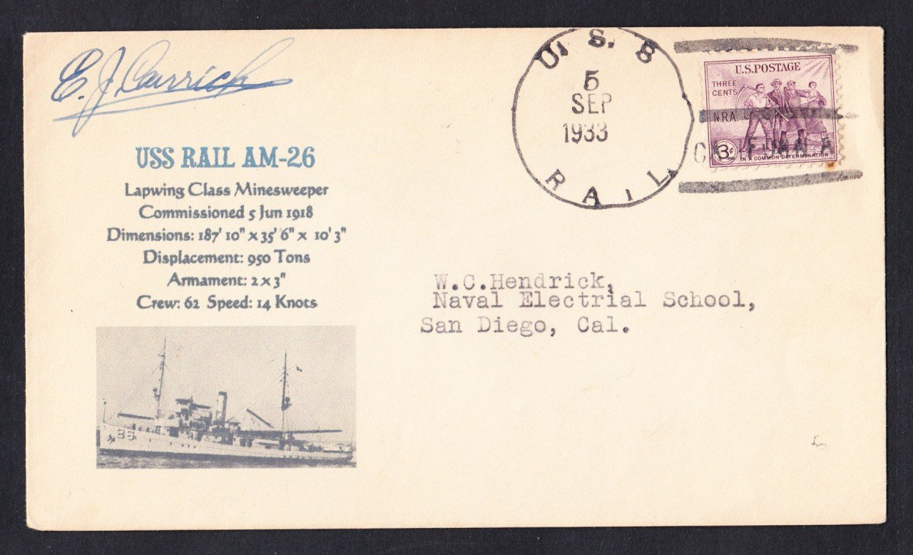 USS RAIL AM-26 1933 Naval Cover Mhcachets Only 1 Made