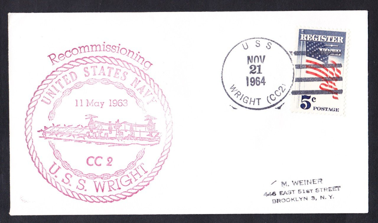 USS WRIGHT CC-2 Ship's Cachet Naval Cover