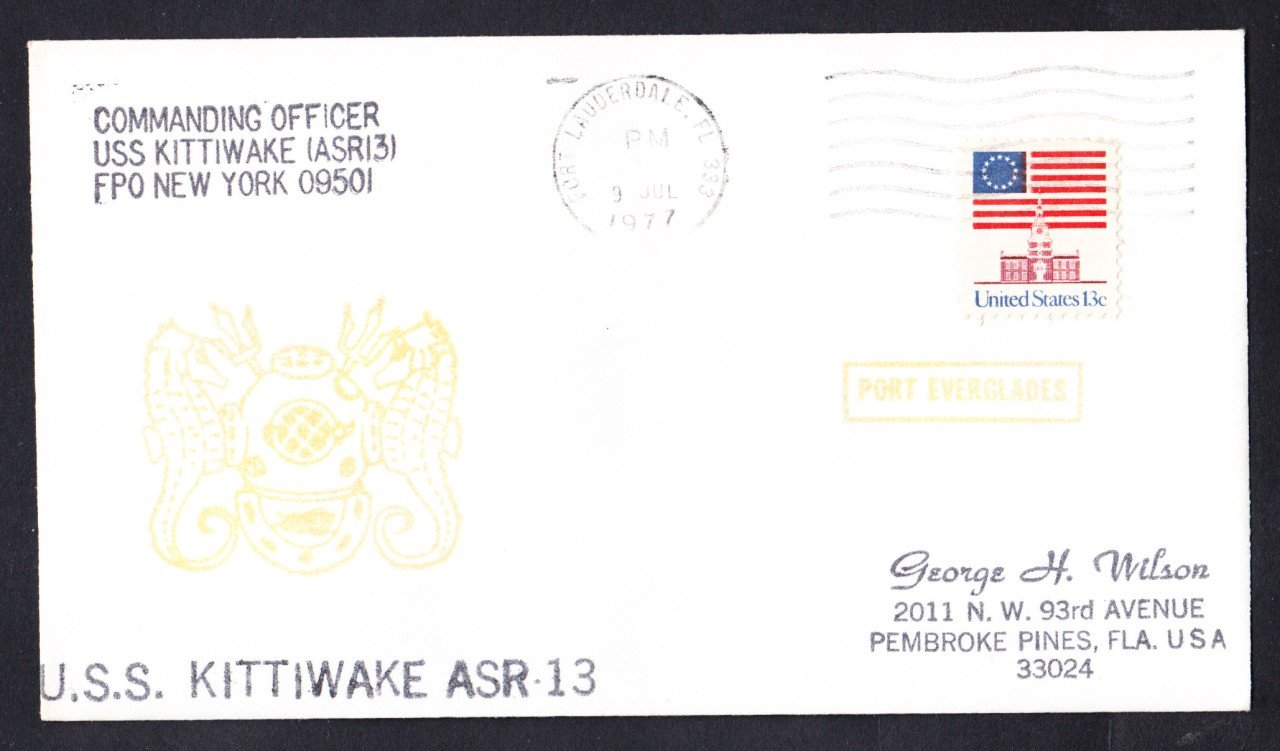 USS KITTIWAKE ASR-13 Port Everglades Fl Naval Cover