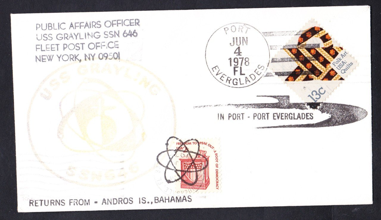 USS GRAYLING SSN-646 Bahamas to Port Everglades FL Naval Submarine Cover