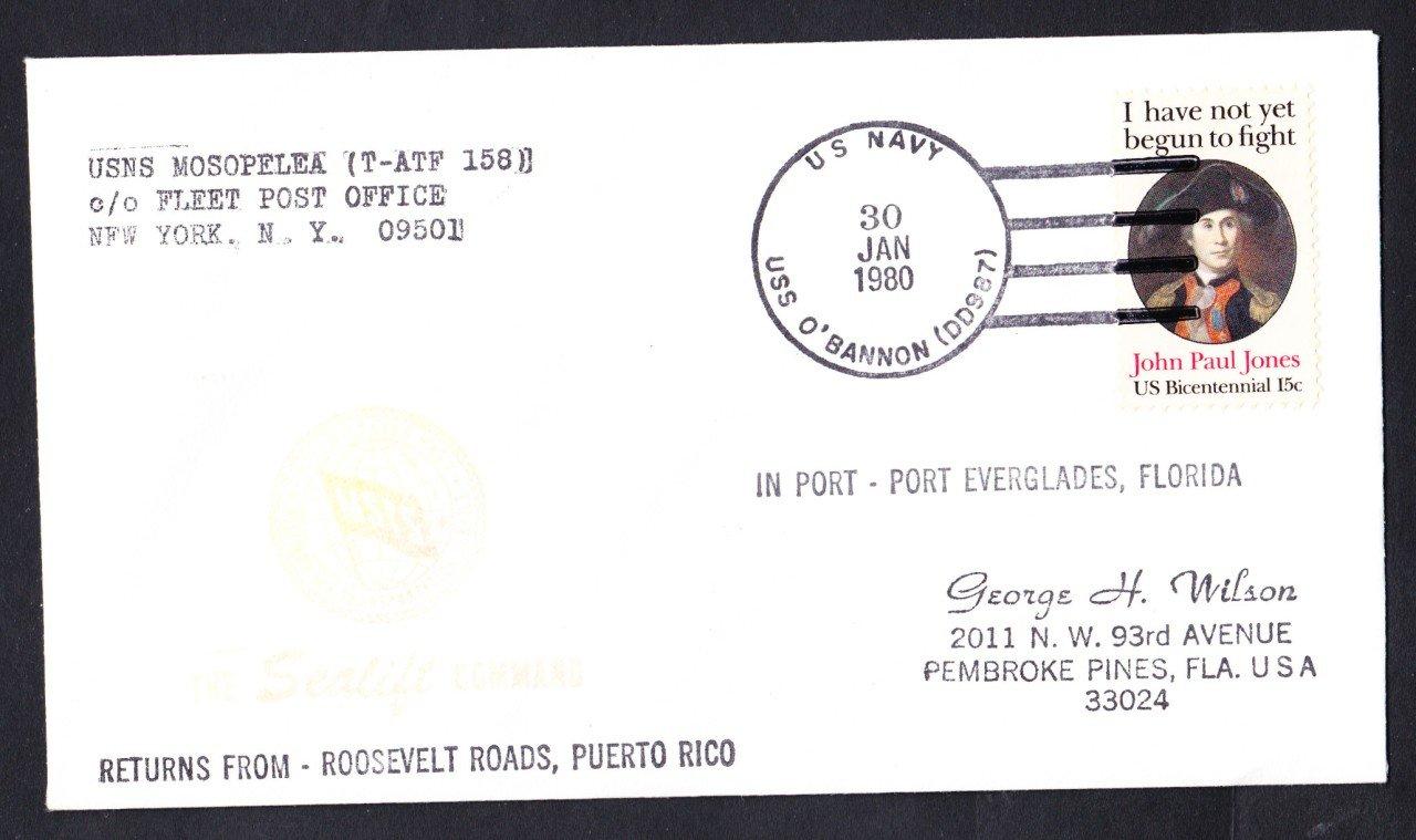 USNS MESOPELEA T-ATF-158 Puerto Rico to Port Everglades FL Naval Cover