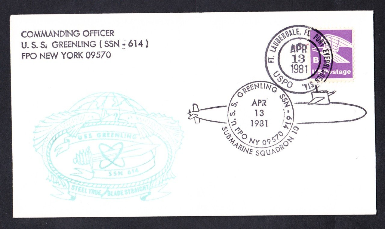 USS GREENLING SSN-614 Port Everglades FL Naval Submarine Cover