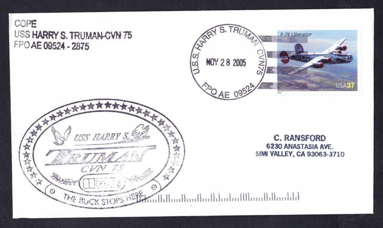 USS HARRY S. TRUMAN CVN-75 Ship's Cachet Naval Cover