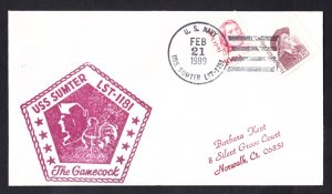 USS SUMTER LST-1181 Ship's Cachet Naval Cover