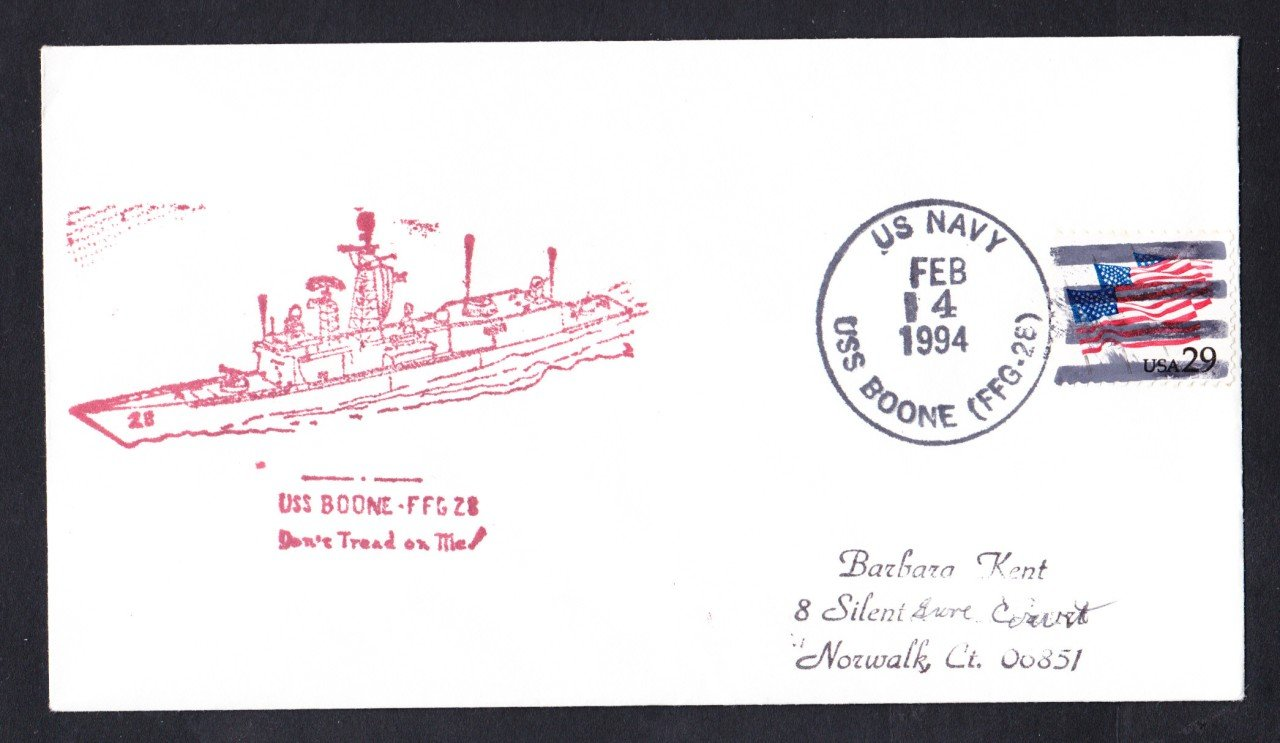USS BOONE FFG-28 Ship's Cachet Naval Cover
