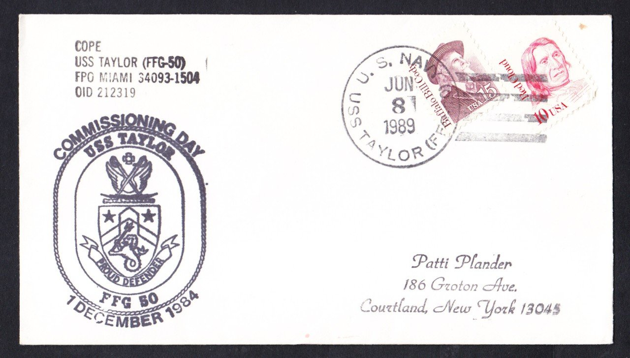 USS TAYLOR FFG=50 Ship's Cachet Naval Cover