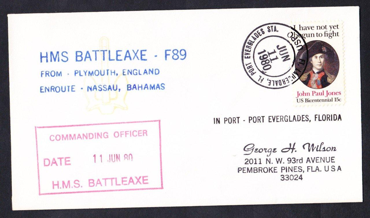 HMS BATTLEAXE F-89 Port Everglades FL Naval Cover