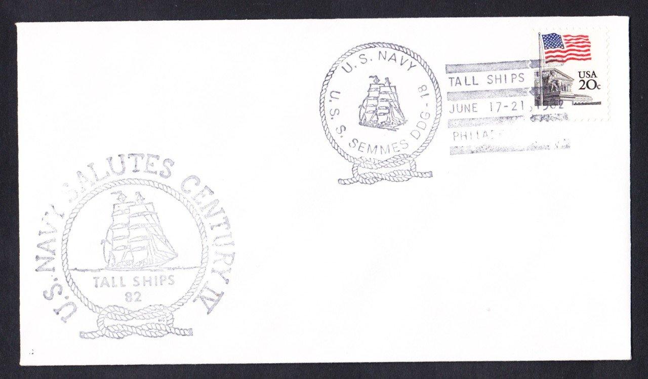 USS SEMMES DDG-18 1982 Tall Ships Philadelphia Fancy Cancel Naval Cover