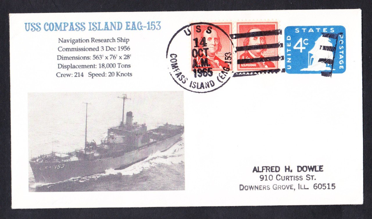 USS COMPASS ISLAND EAG-153 Naval Cover MhCachets Only 1 Made