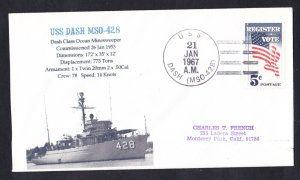 USS DASH MSO-428 Naval Cover MhCachets Only 1 Made