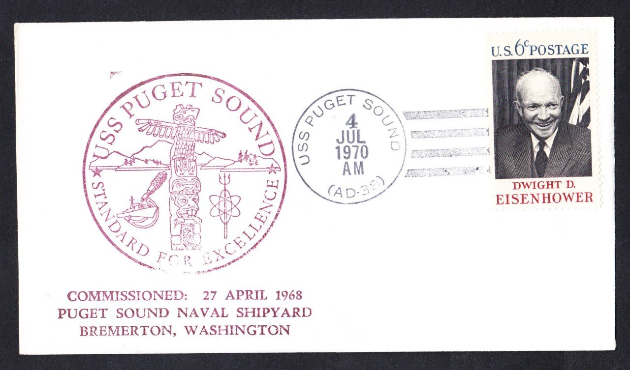 USS PUGET SOUND AD-38 Ship's Cachet Naval Cover