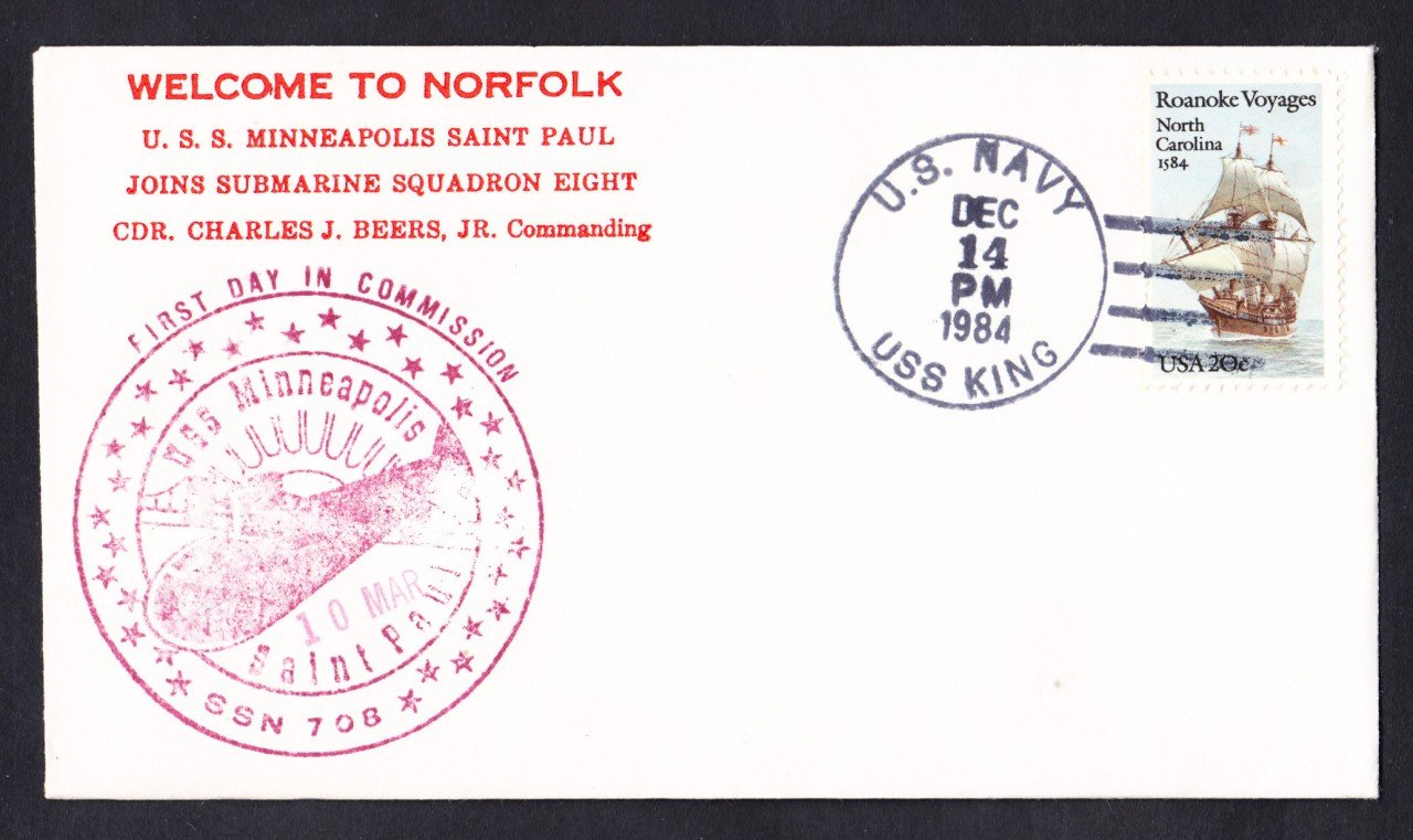 USS MINNEAPOLIS SAINT PAUL SSN-78 Welcome To Norfolk Naval Submarine Cover