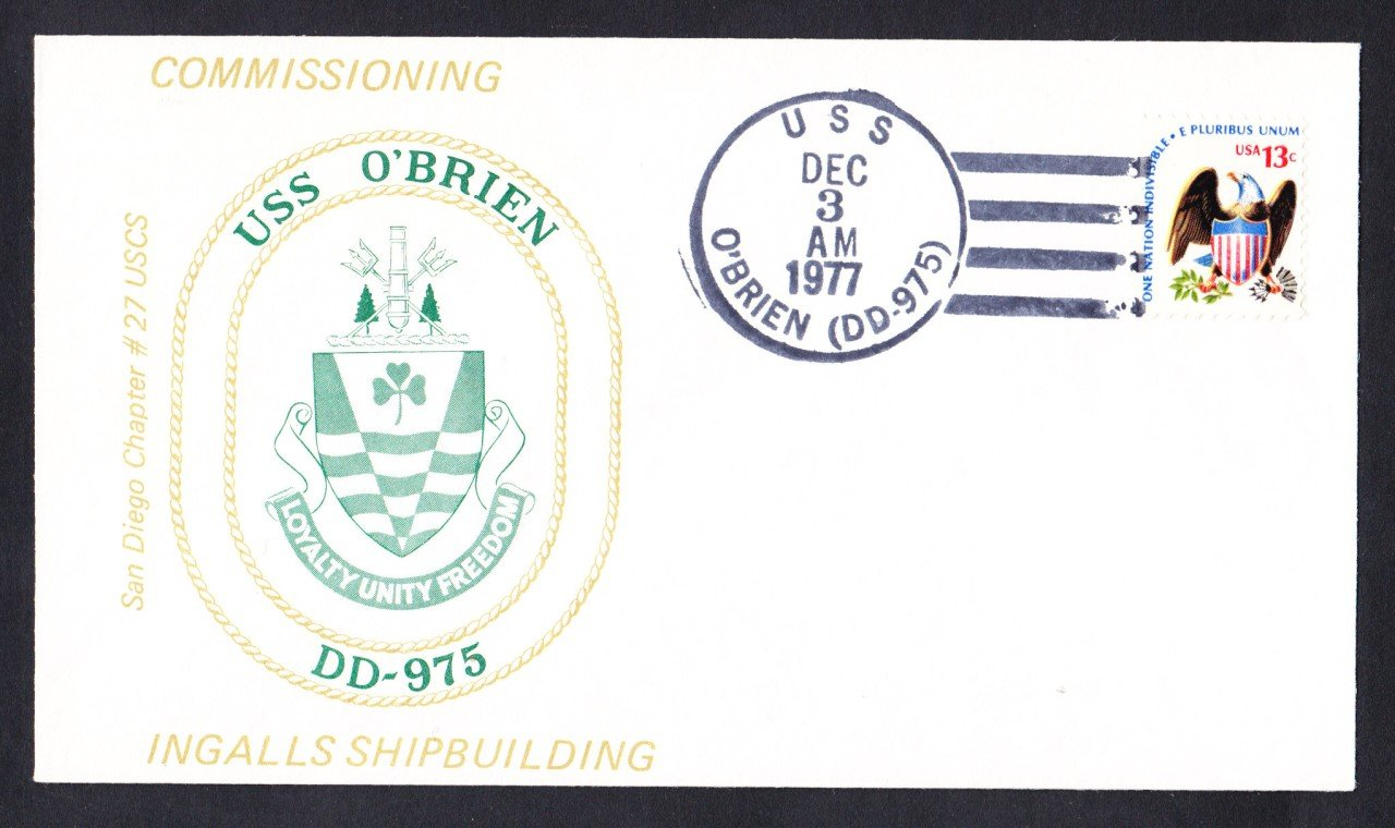 USS O'BRIEN DD-975 Commissioning Naval Cover