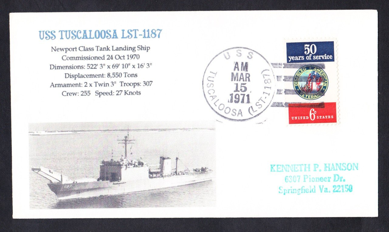 USS TUSCALOOSA LST-1187 Naval Cover MhCachets Only 1 Made