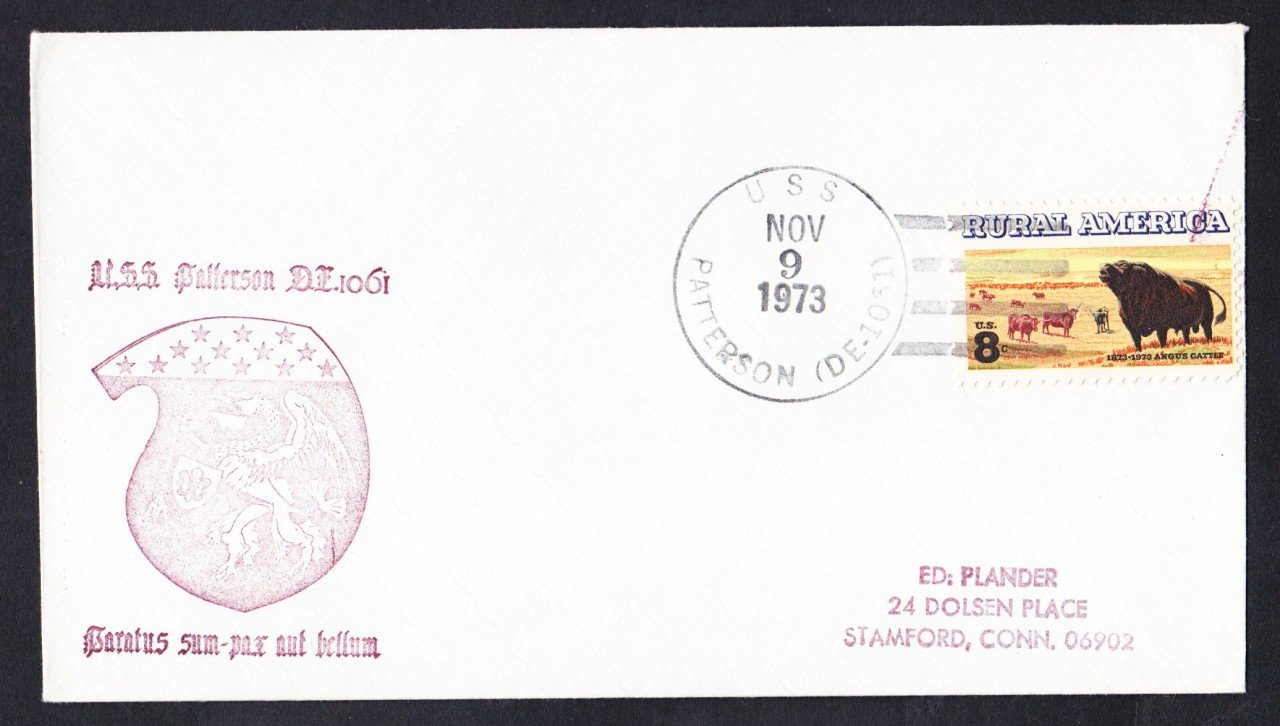USS PATTERSON FF-1061 Ship's Cachet Naval Cover