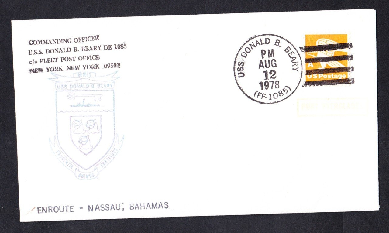 USS DONALD B. BEARY FF-1085 Bahamas to Port Everglades Naval Cover