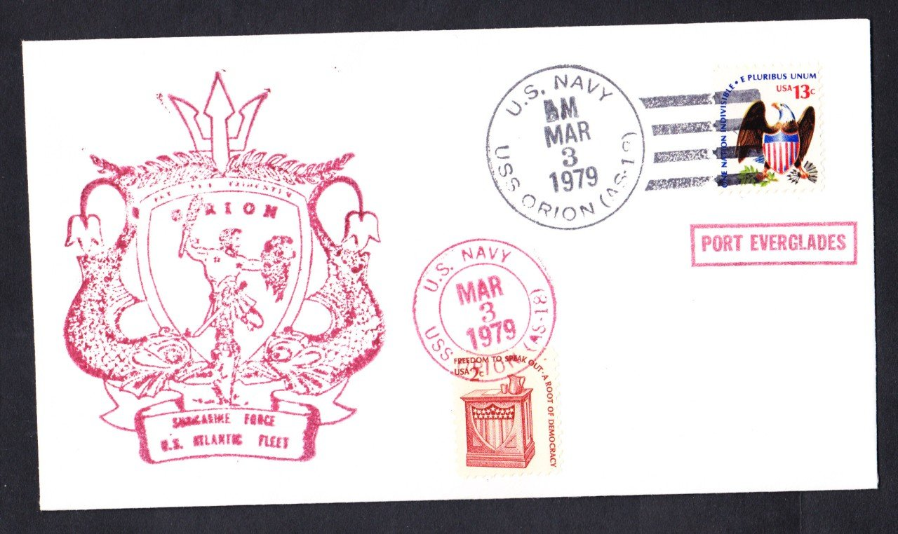 USS ORION AS-18 Port Everglades FL Naval Cover