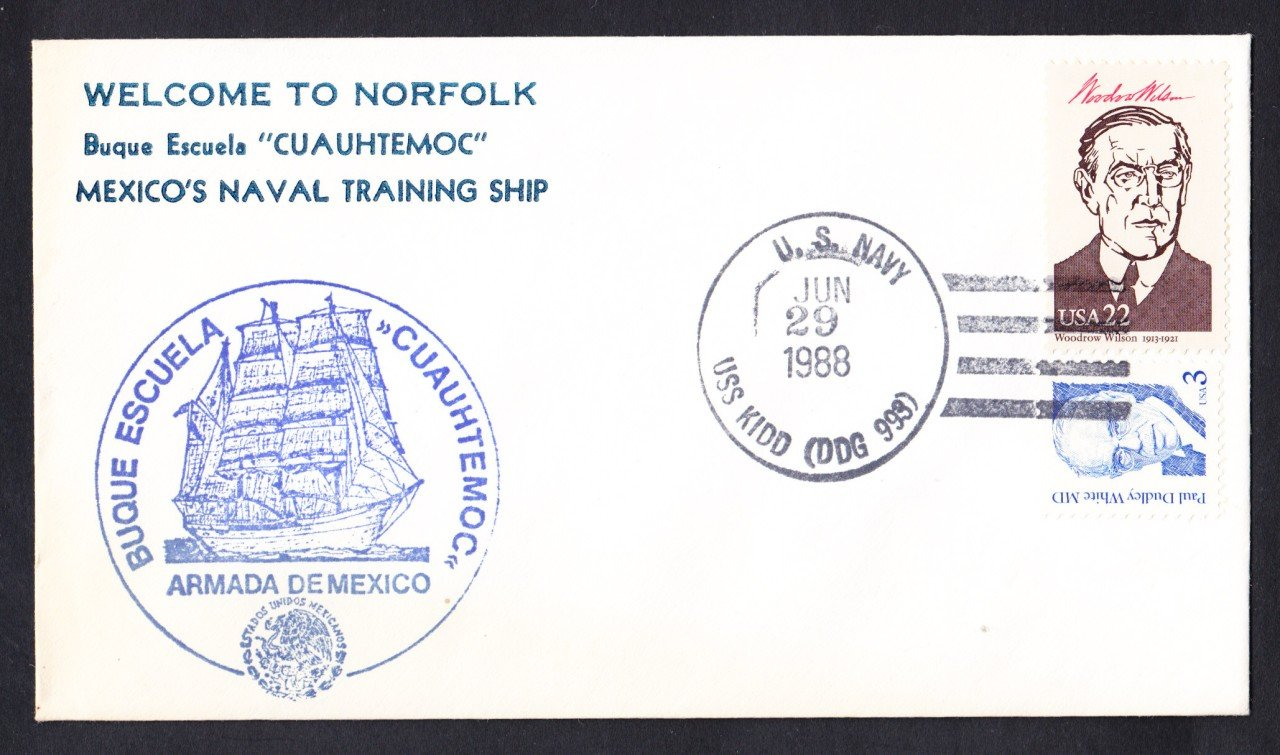 Mexican Navy Ship CUAUHTEMOC Welcome To Norfol Naval Cover