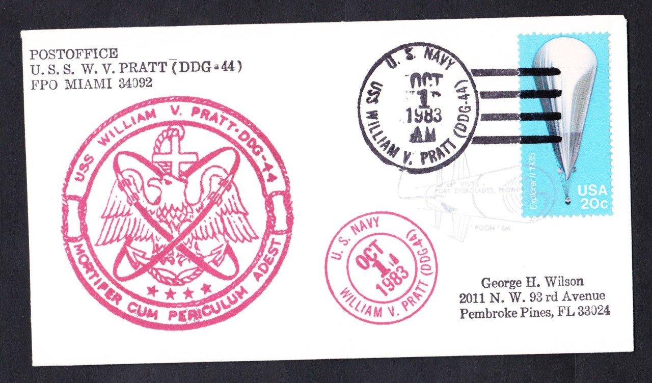 USS PRATT DDG-44 Port Everglades FL Naval Cover