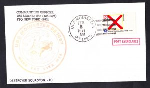 USS MOINESTER FF-1097 Port Everglades FL Naval Cover