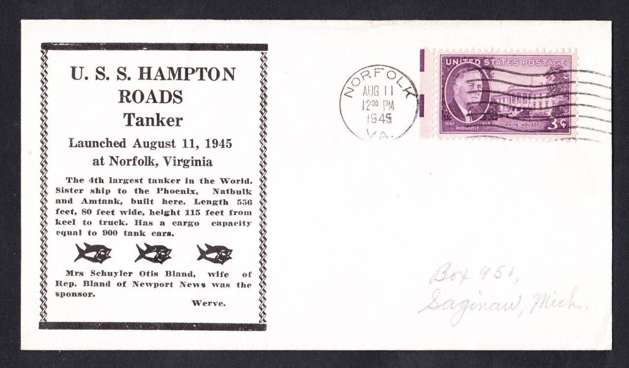 WWII Merchant Ship SS HAMPTON ROADS Launching Ship Cover