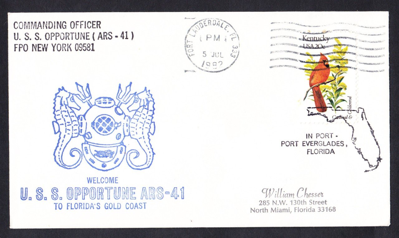 USS OPPORTUNE ARS-41 Port Everglades FL Naval Cover