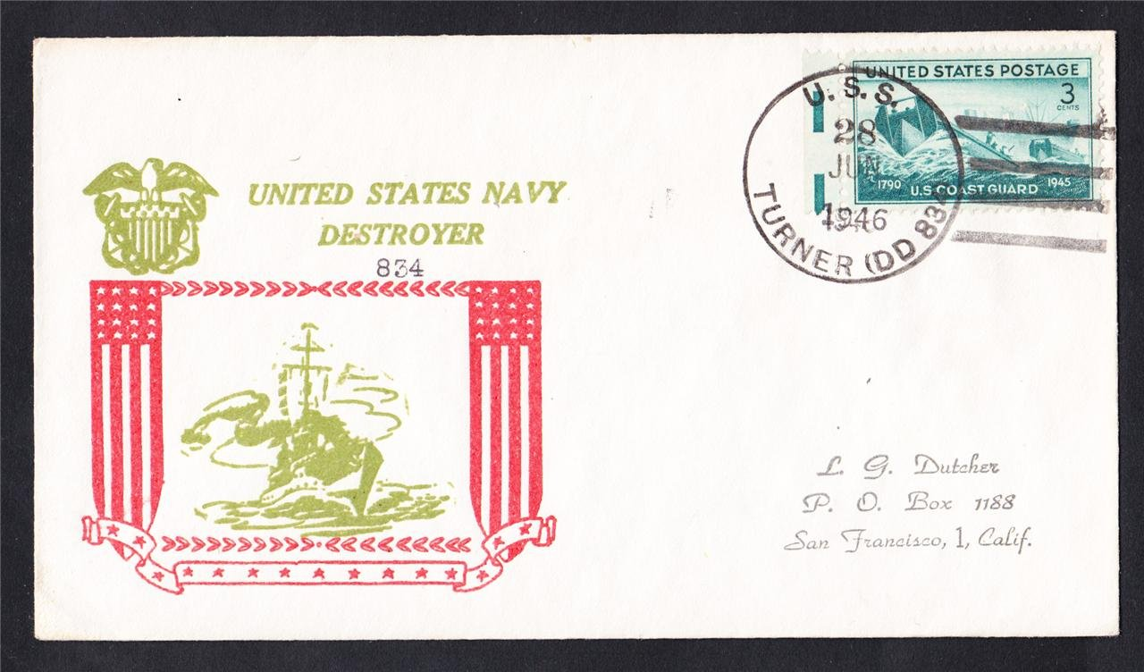 USS TURNER DD-834 1946 Naval Cover