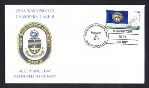 USS WASHINGTON CHAMBERS T-AKE-11 Delivery to US Navy Naval Cover MhCachets Only 8 Made