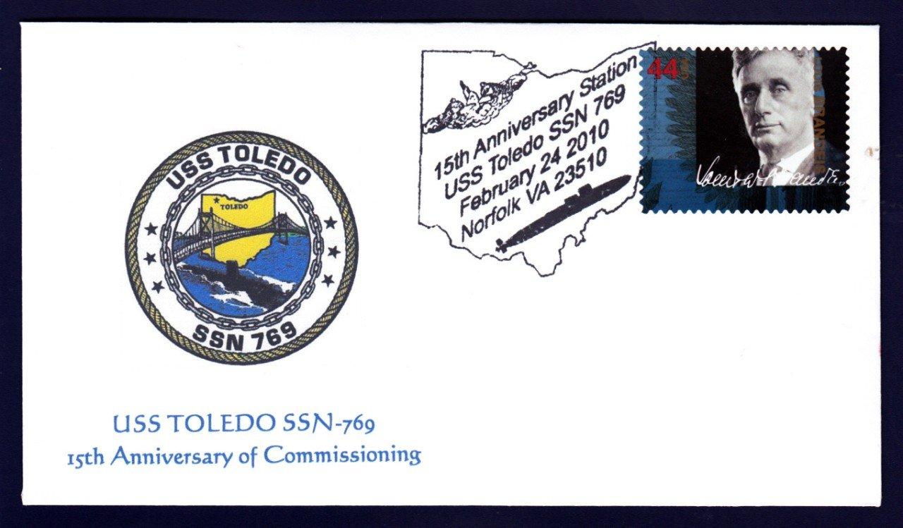 USS TOLEDO SSN-769 Anniversary Naval Submarine Cover MhCachets Only 8 Made