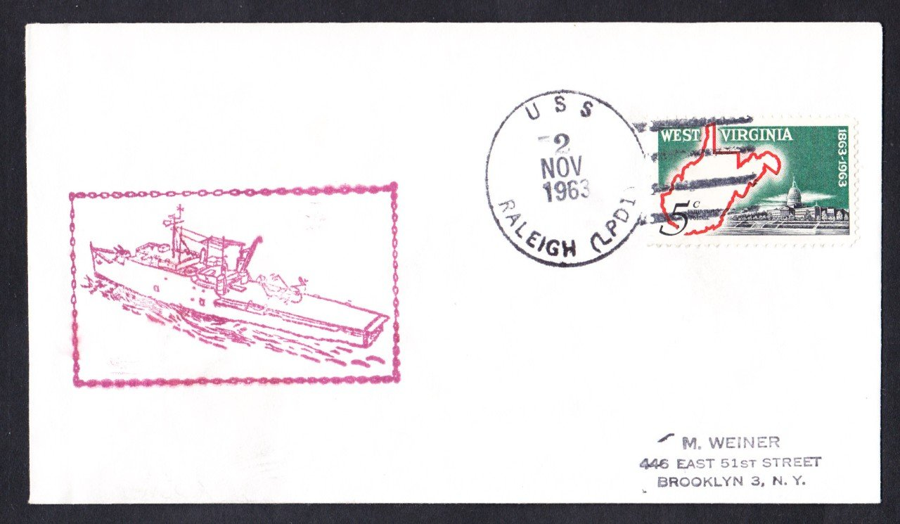 USS RALEIGH LPD-1 Ship's Cachet Naval Cover
