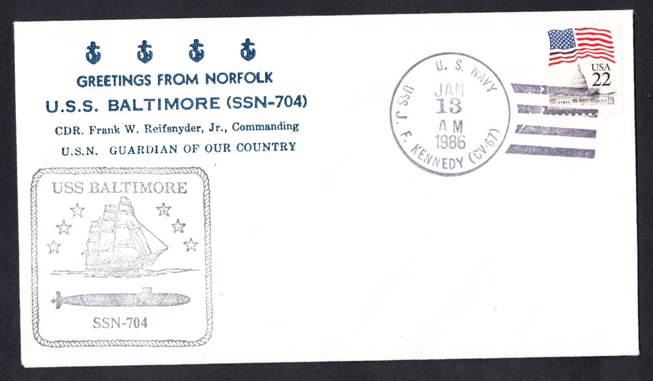 USS BALTIMORE SSN-704 Welcome To Norfolk Nicholson Naval Submarine Cover