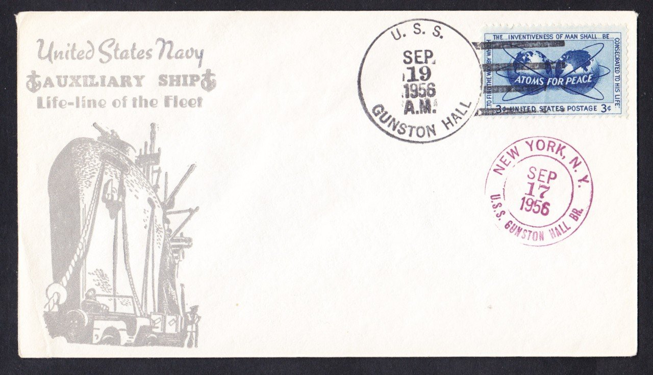 USS GUNSTON HALL LSD-5 1956 Naval Cover