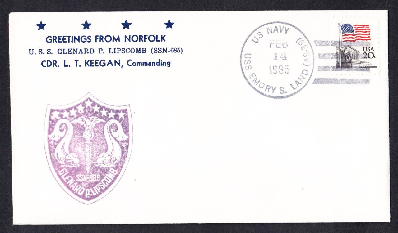 USS GLENARD P. LIPSCOMB SSN-685 Welcome To Norfolk Nicholson Naval Cover