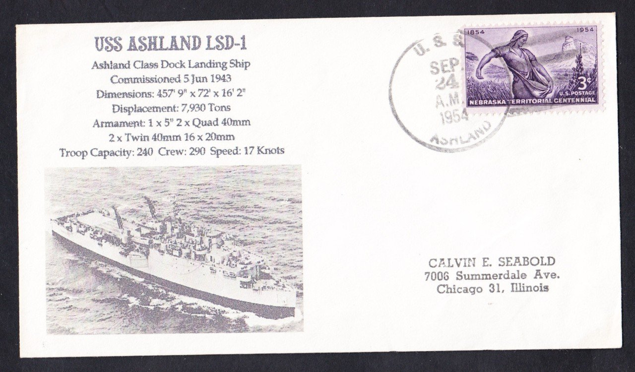 USS ASHLAND LSD-1 Naval Cover MhCachets Only 1 Made