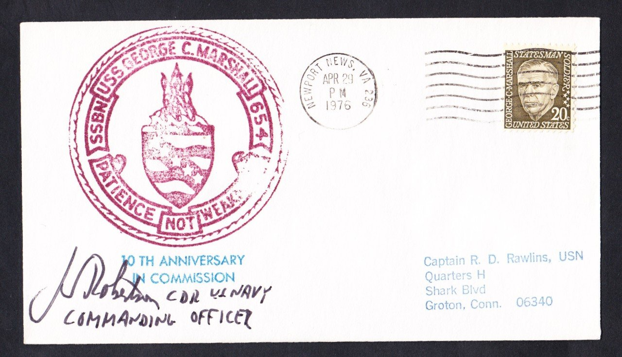 USS GEORGE C. MARSHALL SSBN-654 CO Autograph Naval Submarine Cover