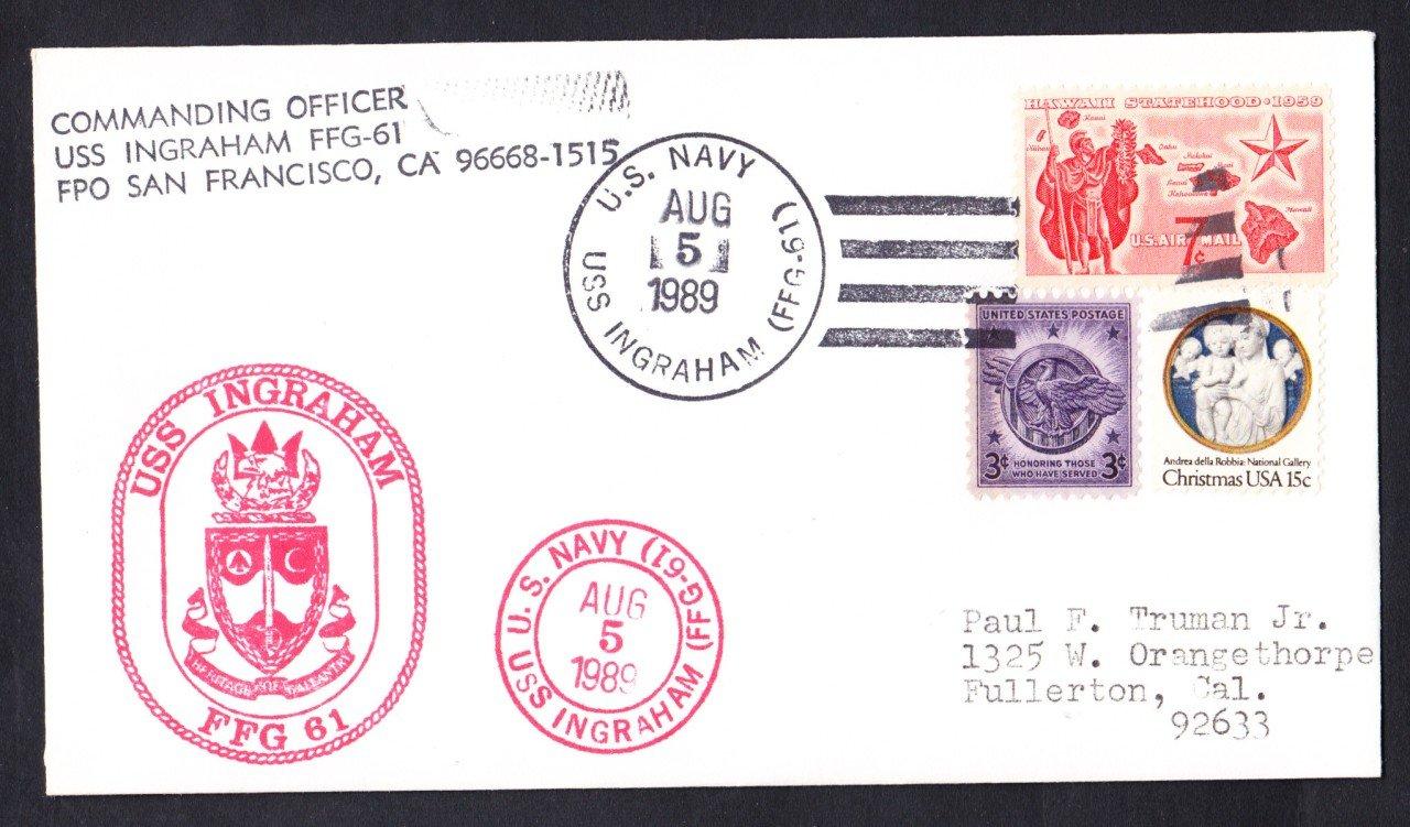 USS INGRAHAM FFG-61 Commissioning Naval Cover