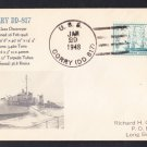 USS CORRY DD-817 1948 Naval Cover MhCachets Only 1 Made