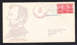 US RECEIVING SHIP BROOKLYN Abraham Lincoln's Birthday 1937 Naval Cover
