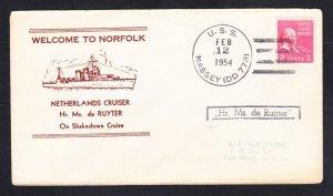 Dutch Cruiser Hr. Ms. De RUIJTER Shakedown Cruise Norfolk VA 1954 Naval Cover