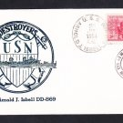 Destroyer USS ARNOLD J. ISBELL DD-868 Thermographed Cachet Naval Cover
