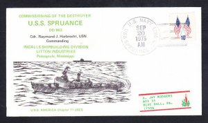 Destroyer USS SPRUANCE DD-963 COMMISSIONING Naval Cover