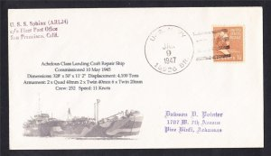 Landing Craft Repair USS SPHINX ARL-24 BR# Cancel Naval Cover MhCachets 1 MADE