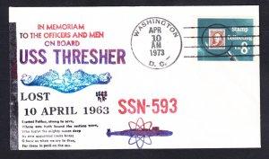 Sunk Submarine USS THRESHER SSN-593 10th Anniversary MEMORIAL Naval Cover
