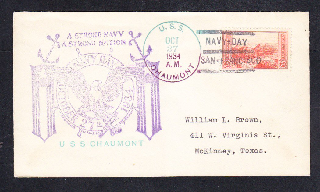 Transport Ship USS CHAUMONT AP-5 Navy day 1934 Naval Cover