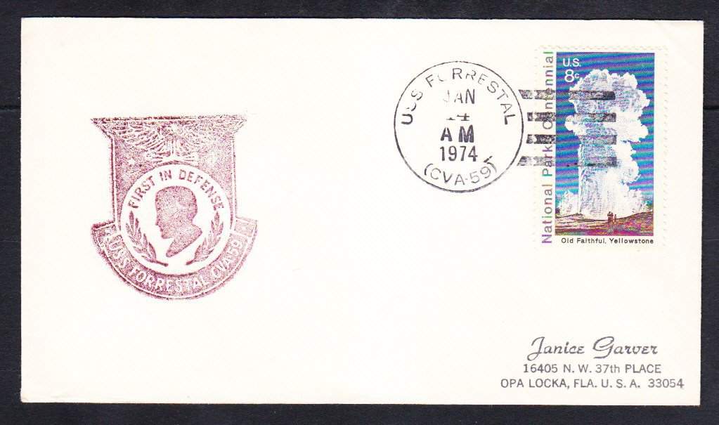 Aircraft Carrier USS FORRESTAL CVA-59 1974 Naval Cover